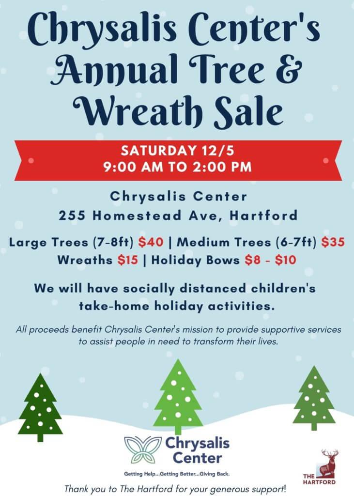 Chrysalis Center Christmas Tree and Wreath Sale Saturday December 5